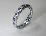 1.20ct Diamond Sapphire Eternity Wedding Ring Platinum JEWELFORME BLUE