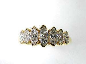 1.25ct Marquise Shape Diamond Eternity Ring 18kt Yellow JEWELFORME BLUE