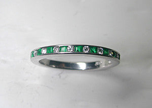 0.46ct Eternity Ring Round Diamonds and Emeralds PLATINUM JEWELFORME BLUE Stack Rings