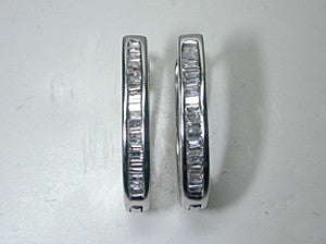 1.10ct Baguette Diamond Earrings 14kt White Gold Hoops JEWELFORME BLUE