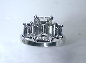 6.53ct Emerald Cut Diamond Engagement Ring GIA CERTIFIED DIAMOND  18kt White Gold
