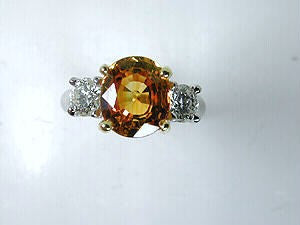 4.48ct Oval Yellow Sapphire Diamond Engagement Ring 18kt White Gold JEWELFORME BLUE