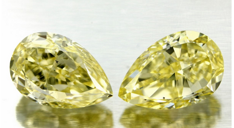 3.03ct Fancy Yellow Pear Shape Matching Pair Diamond JEWELFORME BLUE  GIA Certified pay 2