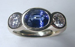3.10ct Oval Sapphire Diamond Engagement ring JEWELFORME BLUE 18kt Yellow