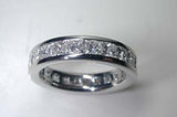 2.04ct Princess diamond Eternity Weddiing Ring Band 14kt JEWELFORME BLUE