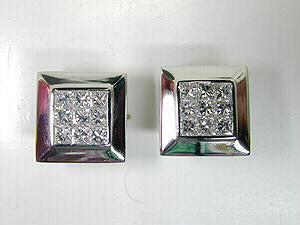 1.10ct Princess Cut Diamond Earrings 18kt White JEWELFORME BLUE