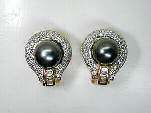 1.10ct Black Pearl Diamond Earrings  14kt Yellow Gold BLUERIVER4747