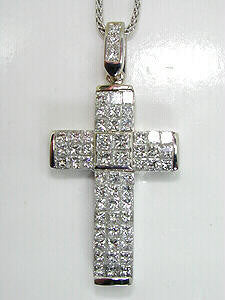 1.84ct Princess Diamond Cross Pendant Necklace JEWELFORME BLUE