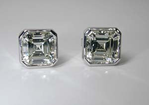 4.01ct Asscher Cut Diamond studs Earrings GIA Certified JEWELFORME BLUE