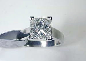 3.02ct Princess Cut Diamond Engagement Ring 18kt JEWELFORME BLUE