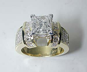 5.01ct Princess Cut Diamond Engagement Ring 18kt Yellow Gold Anniversary Bridal Jewelry JEWELFORME BLUE