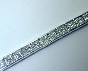 5.90ct Princess Cut Diamond Bracelet Tennis Railroad 14kt White Gold JEWELFORME BLUE