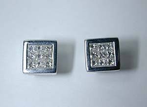 1.00ct Princess Cut Diamond Earrings 18kt White JEWELFORME BLUE not blue nile