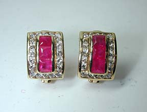 2.22ct Ruby and Diamond Earrings 14kt yellow gold JEWELFORME BLUE