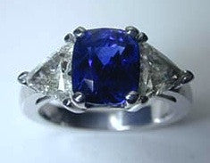 2.94ct Cushion Cut Sapphire Trillion Diamonds Anniversary Ring JEWELFORME BLUE