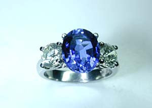 3.67ct Tanzanite and Diamond Engagement ring JEWELFORME BLUE