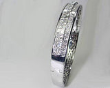 11.54ct Princess Cut and Baguettes Diamond Bracelet 18kt White Gold JEWELFORME BLUE