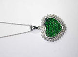3.49ct Diamond Tsavorite Heart Shape Pendant Necklace 14kt JEWELFORME BLUE