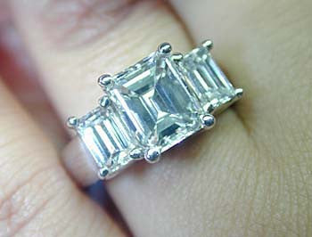 3.16ct Emerald Cut Diamond Engagement Ring 18kt White Gold JEWELFORME BLUE Anniversary Bridal gift