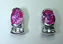 2.19ct Pink Sapphire and Diamond Earrings 18kt white Gold JEWELFORME BLUE