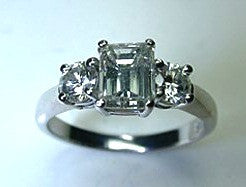 0.74ct Emerald Cut Diamond Engagement Ring G-SI1 GIA certified  JEWELFORME BLUE
