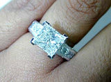 4.30ct Princess Cut Diamond Engagement Ring 18kt White Gold GIA certified JEWELFORME BLUE