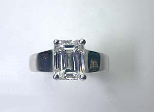 2.07ct Emerald Cut Diamond Engagement Ring 18kt White Gold JEWELFORME BLUE