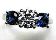 3.10ct H-SI1  Diamond & Sapphire Engagement Ring Platinum GIA certified JEWELFORME BLUE