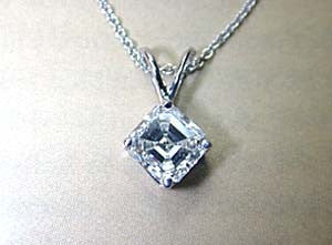 1.51ct H-VS2 Asscher Cut Diamond Pendant Necklace GIA certified