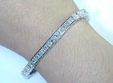 8.10ct Princess Cut Diamond Bracelet Tennis Railroad 14kt White Gold JEWELFORME BLUE