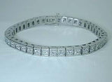 14.60ct  Princess Cut Diamond Bracelet 18kt White Gold Birthday Bridal Gift JEWELFORME BLUE