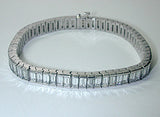 15.60ct Emerald Cut Diamond Bracelet 18kt White Gold Anniversary Bracelet Gift JEWELFORME BLUE