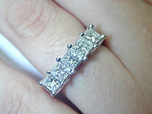 Princess Cut Diamond Wedding Ring 1.52ct 18kt JEWELFORME BLUE