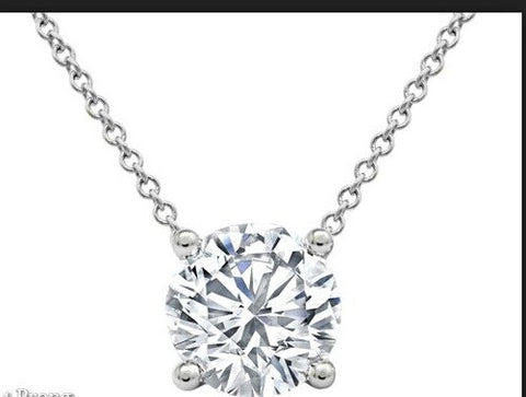 2.24ct I-SI2 Round Diamond Pendant 18kt White Gold GIA certified JEWELFORME BLUE