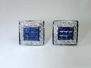 2.13ct Sapphire & Diamond Earrings 18kt JEWELFORME BLUE