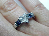 2.03ct G-SI1 Heart Shape Diamond & Sapphire Engagement Ring GIA certified 18kt White Gold JEWELFORME BLUE