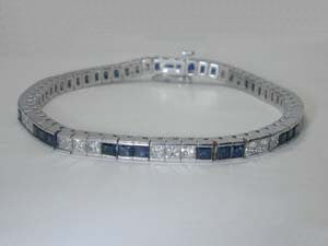 12.36ct Princess Cut Diamond and Sapphire Bracelet 18kt JEWELFORME BLUE