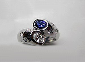 1.08ct Diamond Sapphire Engagement Ring 14kt White Gold JEWELFORME BLUE