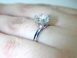 3.00ct H-SI1 certified by EGL Round diamond Engagement Ring 18kt white gold JEWELFORME BLUE