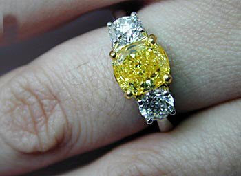 2.85ct Cushion Cut Fancy yellow Diamond Engagement Ring  GIA Certified JEWELFORME BLUE