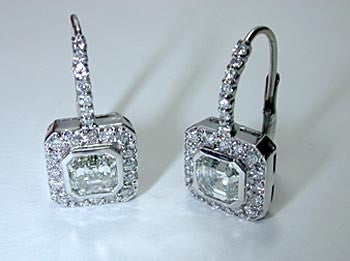 3.30ct Asscher Cut and Round Diamond Earrings 18kt JEWELFORME BLUE