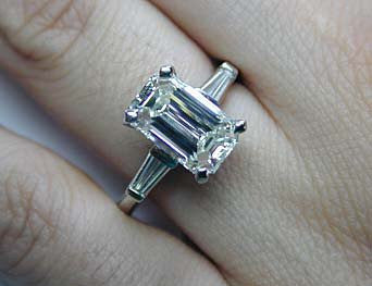 3.54ct Emerald Cut Diamond Engagement Ring  GIA certified Platinum JEWELFORME BLUE