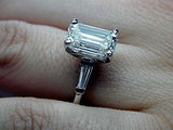 2.31ct E-VVS2 GIA certified Emerald Cut Diamond Engagement Ring Bridal Anniversary Jewelry JEWELFORME BLUE