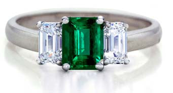 1.48ct Emerald Diamond Engagement Ring JEWELFORME BLUE Three stone