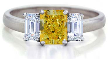3.62ct Engagement Ring Fancy Yellow Radiant Diamond GIA certified 18kt White Gold JEWELFORME BLUE