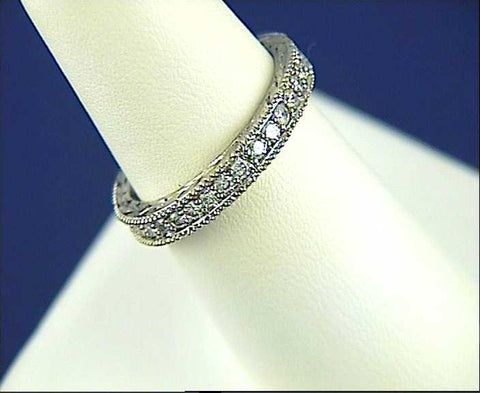 1.02ct Round Diamonds Eternity Wedding Ring Platinum JEWELFORME BLUE Stack ring