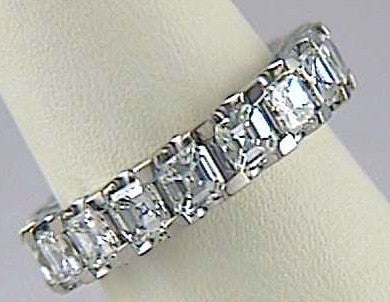 5.07ct Asscher Cut Diamond Eternity Ring 18kt White Gold JEWELFORME BLUE