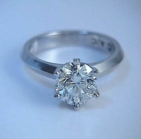 1.35ct F-SI2 Diamond Engagement Ring  Round  18kt EGL certified JEWELFORME BLUE