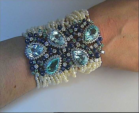 46.00ct Diamond Bracelet Paraiba Tourmaline Sapphire & Pearls Round Diamonds 18kt White Gold