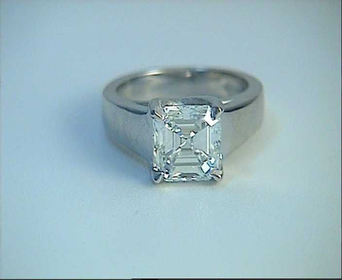 3.01ct G-VS1 Asscher Cut Diamond Engagement Ring GIA certified 18kt JEWELFORME BLUE
